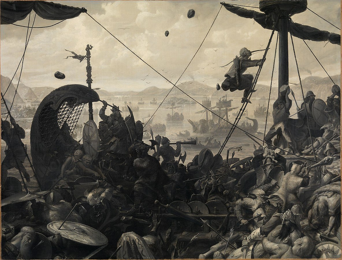Maleri av dramatisk scene der Hårfagre klatrer i masten