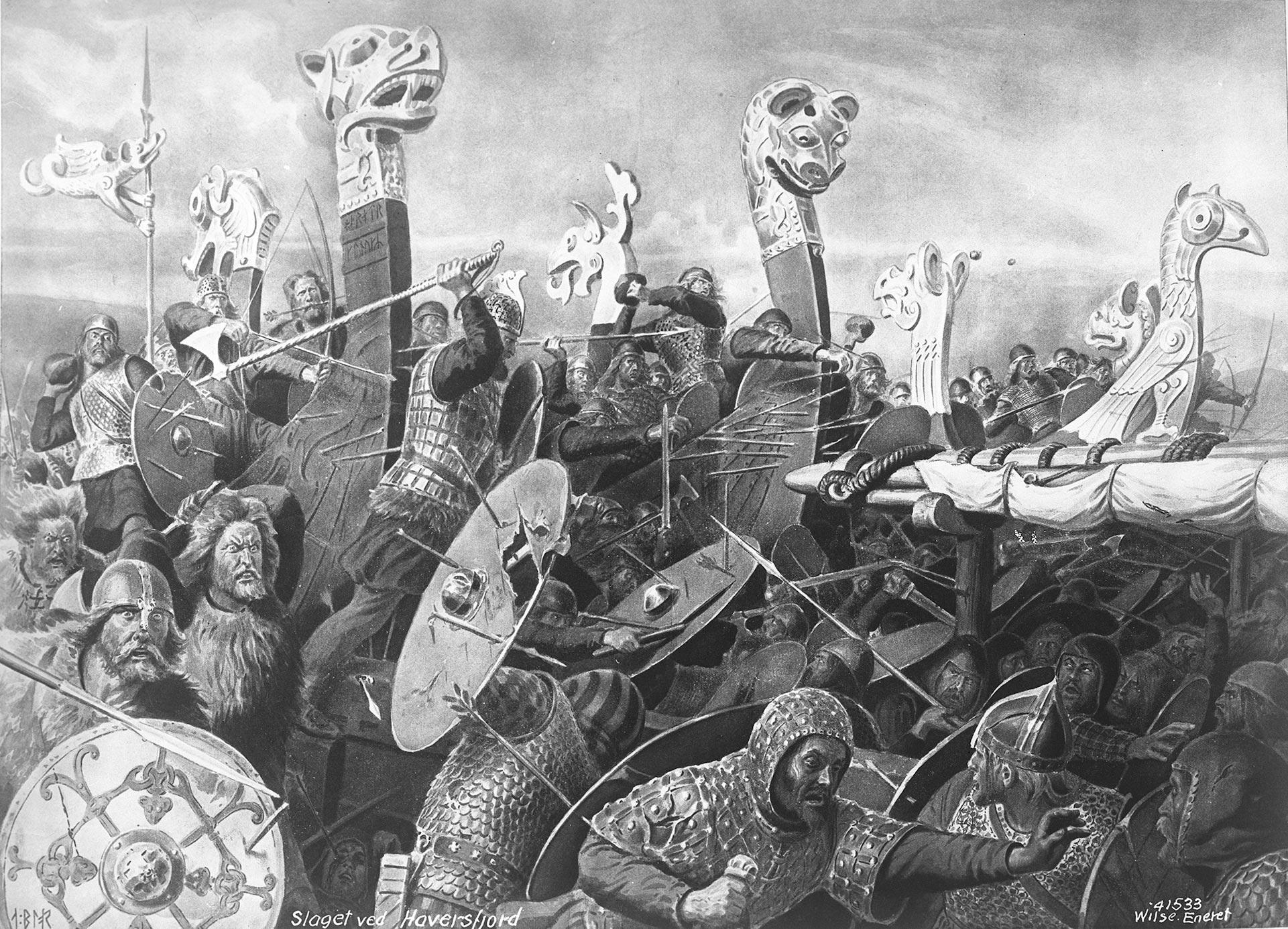 Dramatisk maleri av slaget i Hafrsfjord av kunstneren Andreas Blochn