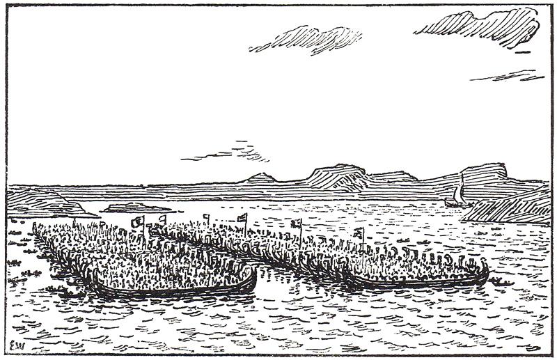 Bilde av slaget i Hafrsfjord av Erik Werenskiold