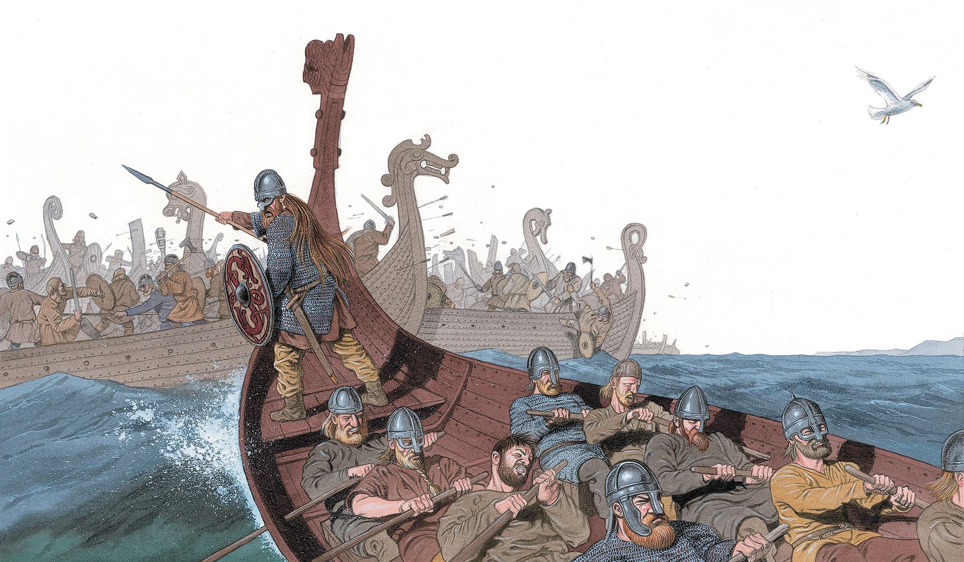 Anders Kvåle Rues bilde av slaget i Hafrsfjord