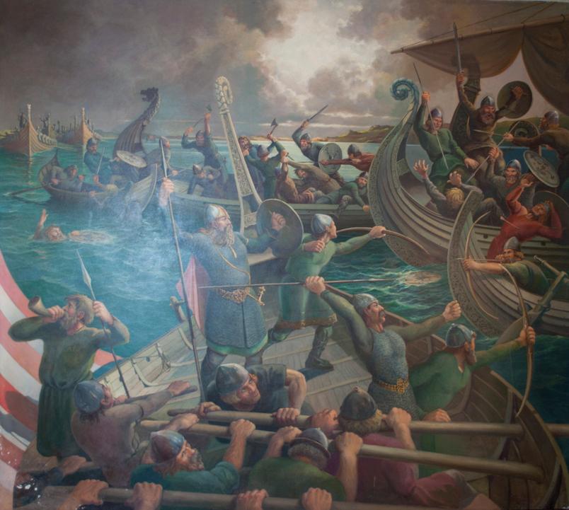 Sverre Nesheims maleri, slaget i Hafrsfjord