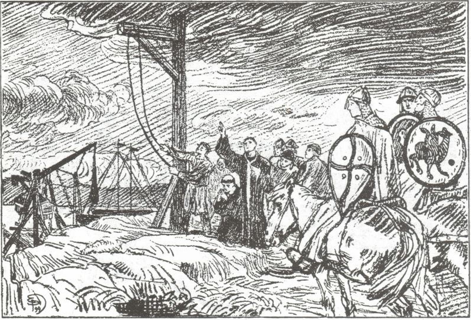 Illustrasjon av henrettelsen av biskop Reinald