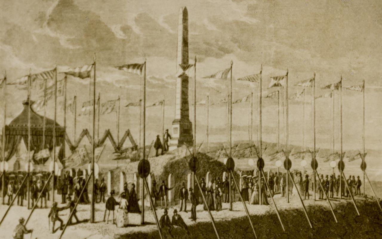 Prospektkort fra avdukingen av Haraldsstøtten ved tusenårsfesten i 1872