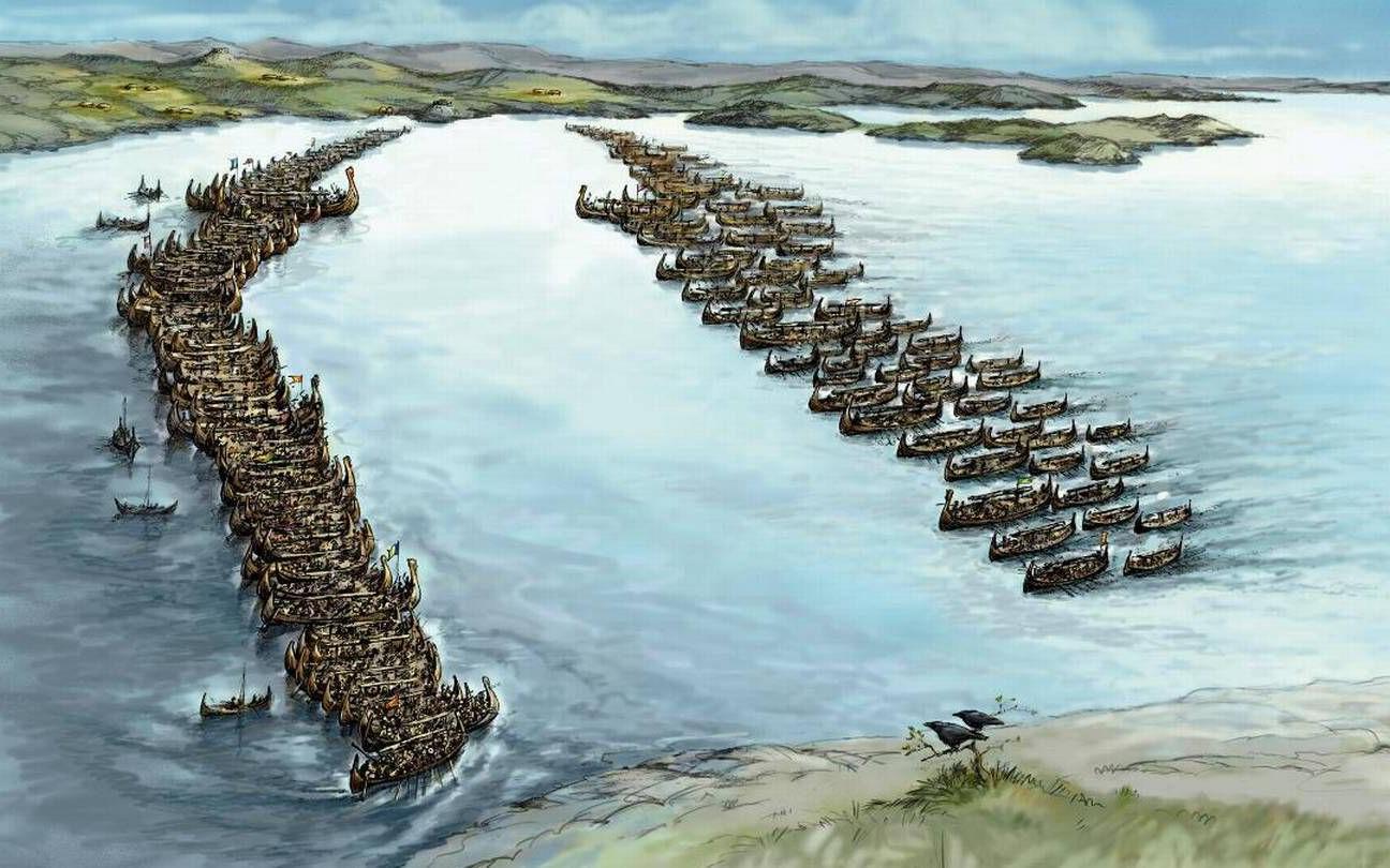 Illustrasjon av Slaget i Hafrsfjord av Jens Flesjå