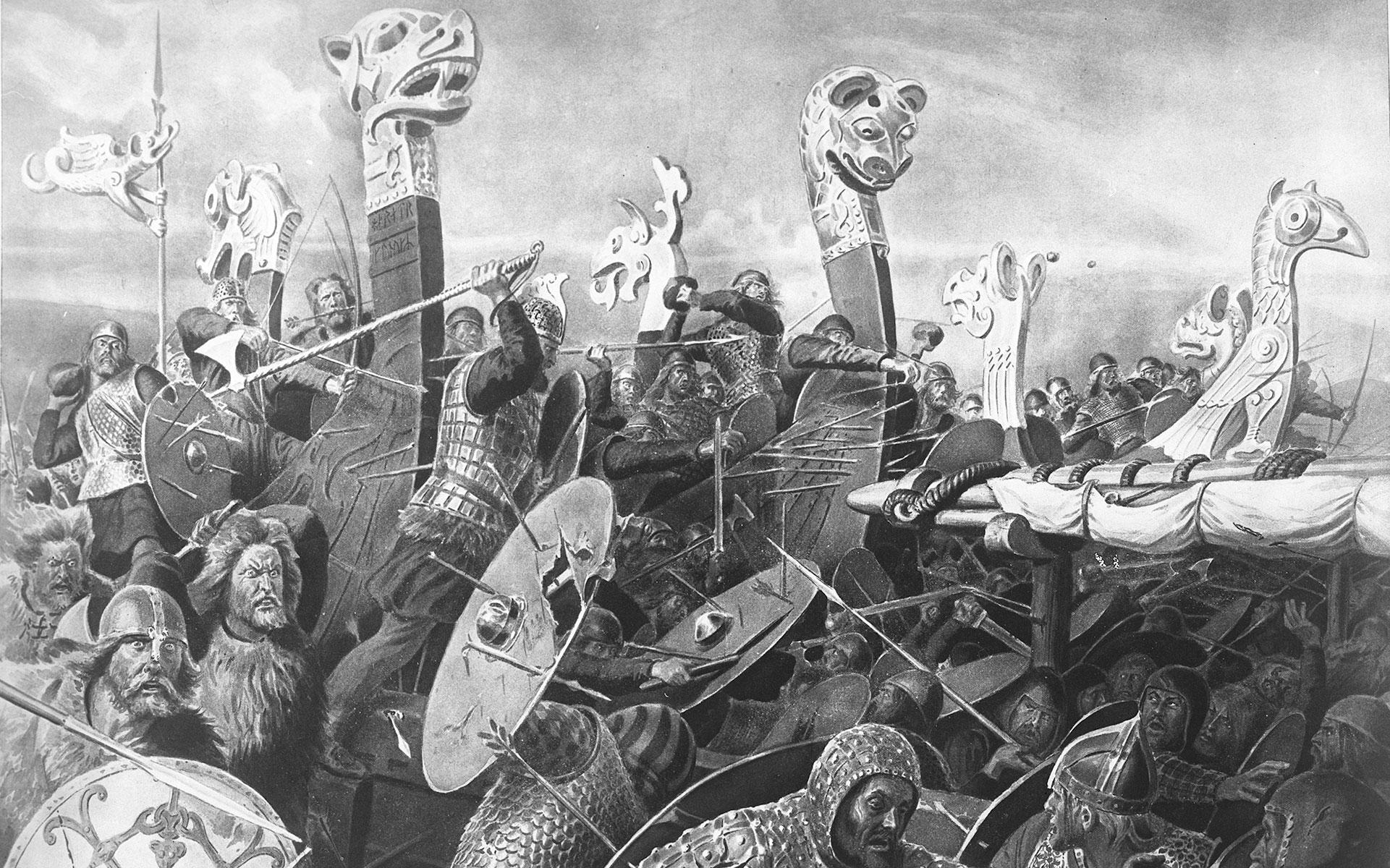 Utsnitt av Andreas Blochs bilde Slaget i Hafrsfjord
