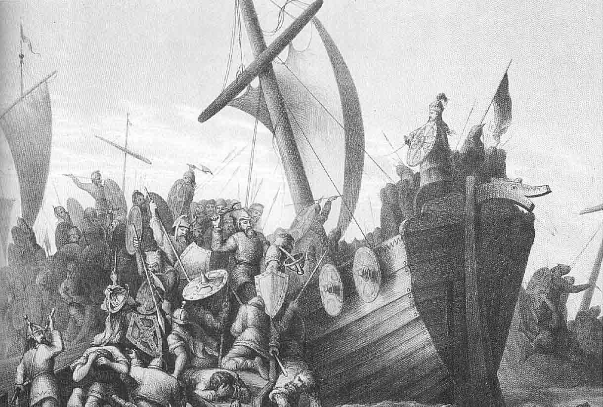 Knud Bergsliens bilde av slaget i Hafrsfjord